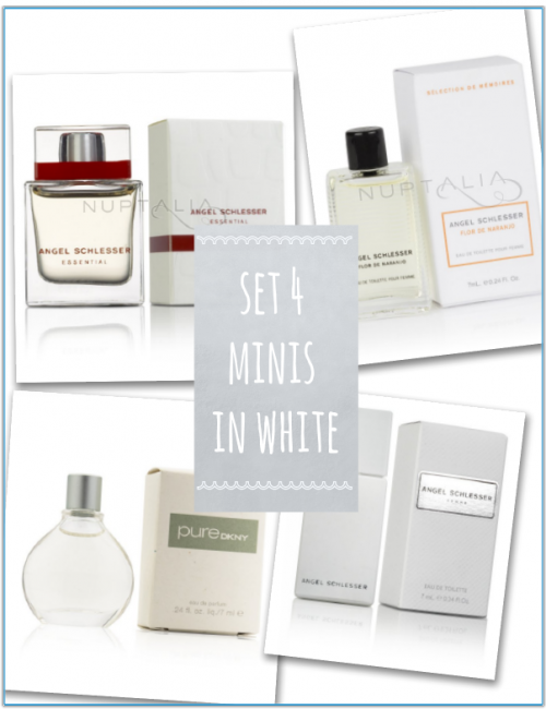 set 4 mini perfumes in white