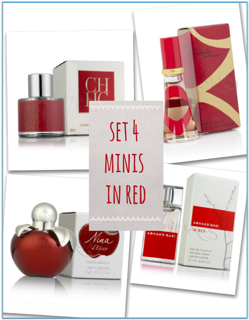 set 4 mini perfumes in red