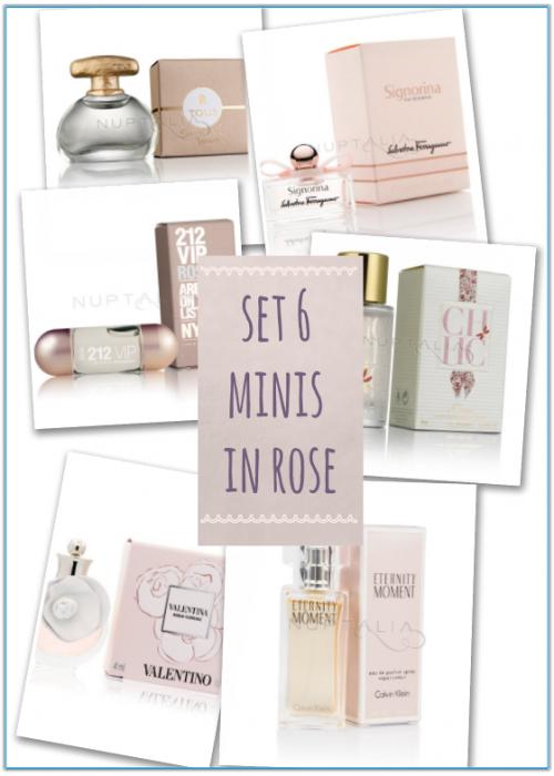set 6 mini perfumes in rose